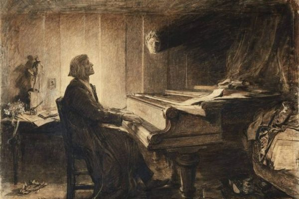 Franz Liszt at the Piano by Sir Hubert von Herkomer 1904